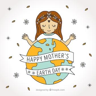 Moeder aarde dag achtergrond met de hand getekende meisje en decoratieve bloemen