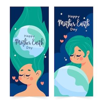 Moeder aarde dag banner met vrouw en planeet