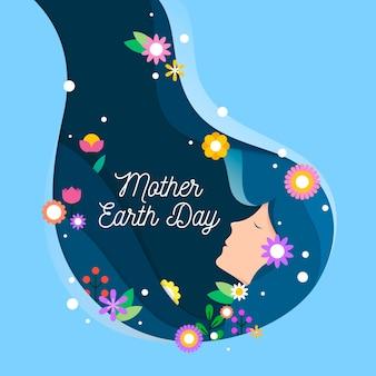 Moeder aarde dag banner met vrouw