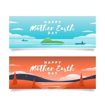 Moeder aarde dag banner plat ontwerp pack