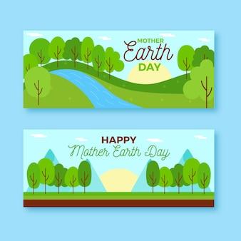 Moeder aarde dag banner plat ontwerp