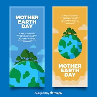 Moeder aarde dag banners