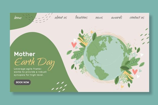 Moeder aarde dag bestemmingspagina sjabloon
