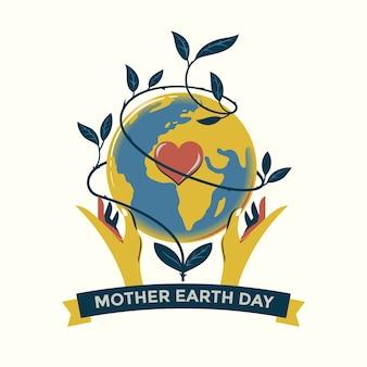 Moeder aarde dag concept hand getrokken illustratie premium vector