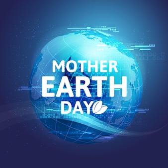 Moeder aarde dag concept met globe en groen. wereld milieu dag.