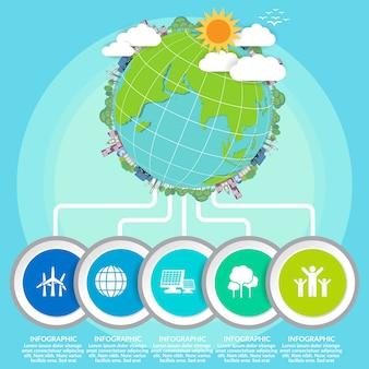 Moeder aarde dag concept met globe en groen.
