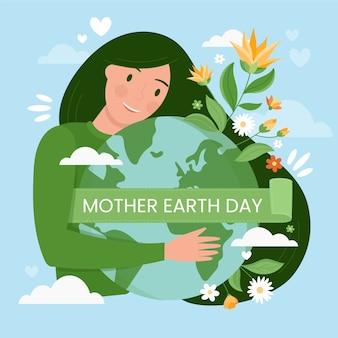 Moeder aarde dag en planeet met planten