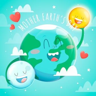 Moeder aarde dag in plat ontwerp