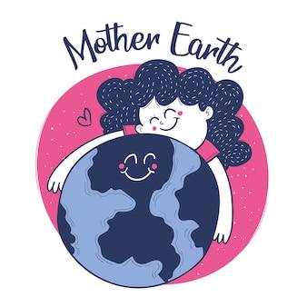 Moeder aarde dag. meisje knuffel aarde