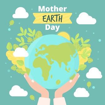 Moeder aarde dag met bladeren en wolken