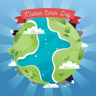 Moeder aarde dag met groene landen en rivier