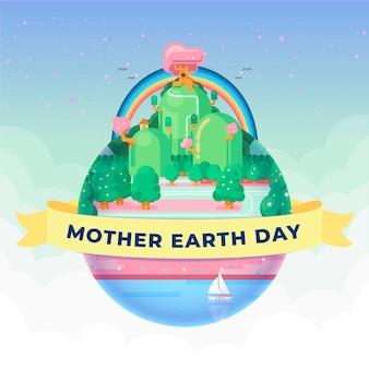 Moeder aarde dag met huizen en rivier