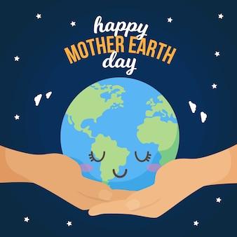 Moeder aarde dag met slaperige planeet