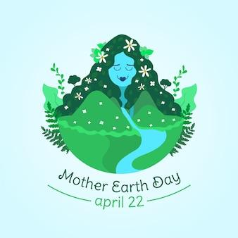 Moeder aarde dag plat ontwerp behang