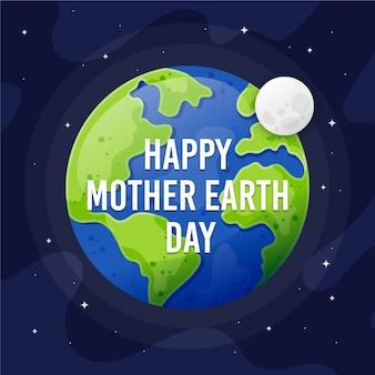 Moeder aarde dag plat ontwerp stijl behang