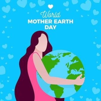 Moeder aarde dag platte ontwerp achtergrond