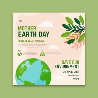 Moeder aarde dag vierkante sjabloon folder