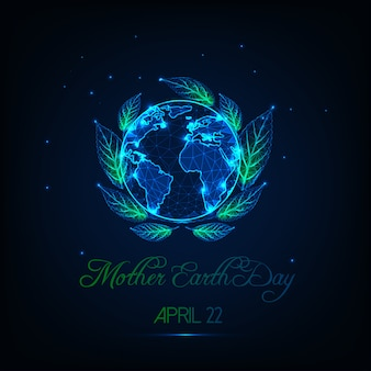 Moeder aarde dag wenskaart met gloed laag poly globe kaart