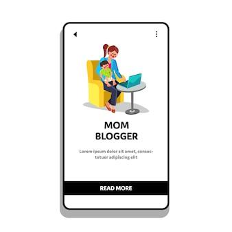 Moeder blogger en kind dat online laptop werkt