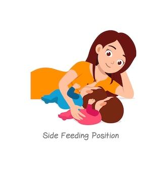 Moeder borstvoeding tweelingbaby met pose genaamd zijpositie