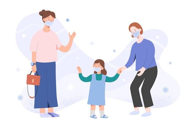 Moeder brengt kind naar de kleuterschool na coronavirus-pandemie