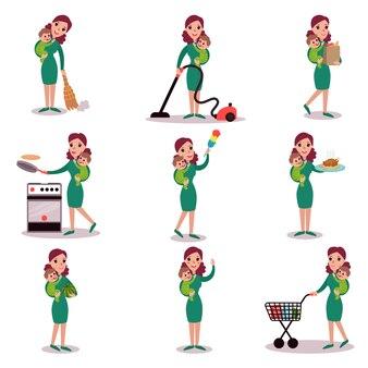 Moeder dagelijkse routine-activiteiten, super moeder concept, illustraties