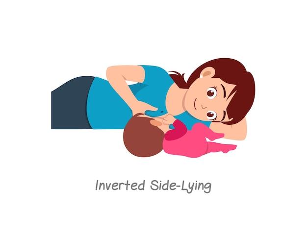Moeder die baby borstvoeding geeft met pose genaamd omgekeerde zij liggend