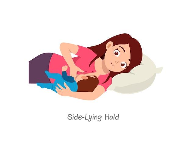 Moeder die baby borstvoeding geeft met pose genaamd zijligging