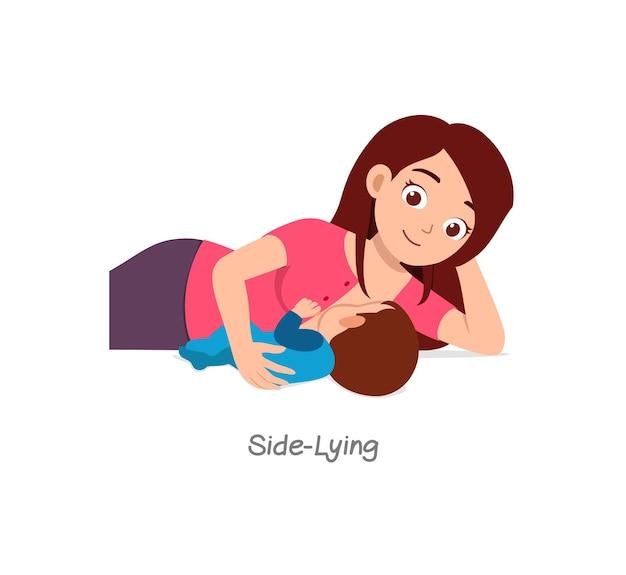 Moeder die baby borstvoeding geeft met pose met de naam zijwaarts liggend