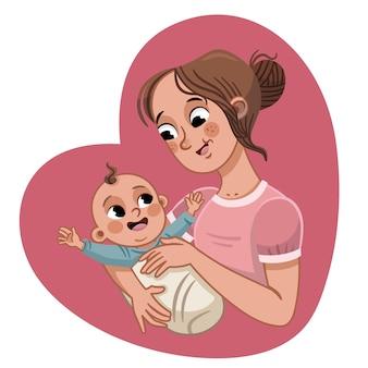 Moeder die baby draagt moedersdag moederschap vectorillustratie