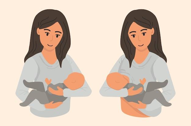 Moeder die haar baby borstvoeding geeft. vrouw die haar kind vasthoudt en voedt