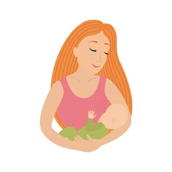 Moeder die haar jonge kind borstvoeding geeft. borstvoeding te geven.