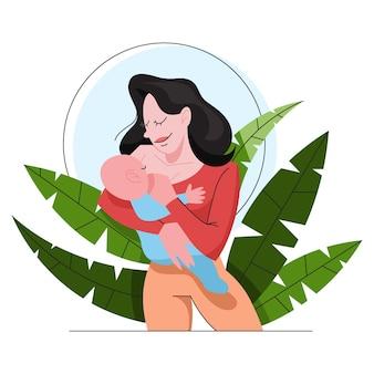 Moeder die haar pasgeboren baby de borst geeft. idee van kinderopvang en moederschap. geef het kind borstvoeding. illustratie