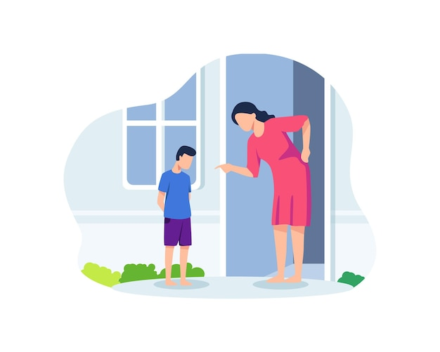Moeder die haar zoon uitscheldt. slecht ouderschapsconcept, geërgerde ouder die schreeuwt naar een schuldig kind dat met de vinger wijst. ongehoorzaamheid, conflicten tussen ouders en kinderen. vectorillustratie in een vlakke stijl