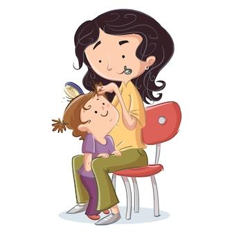 Moeder die het haar van haar dochter borstelt