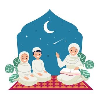 Moeder die hun kinderen leert koran te lezen, het islamitische ramadan kareem-familiemoment. plat ontwerp Premium Vector