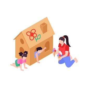 Moeder die ijs geeft aan kinderen op speelplaats 3d isometrische illustratie
