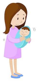 Moeder die pasgeboren baby houdt die in blauw wordt verpakt