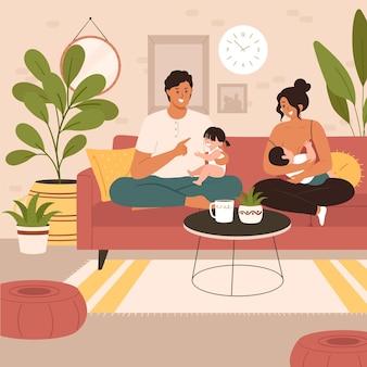 Moeder die pasgeboren baby thuis de borst geeft. de vader en grote zus blijven dicht bij moeder en baby, omhelzen en ondersteunen haar en de baby.