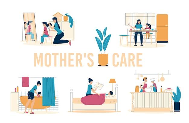 Moeder die voor dochter zorgt