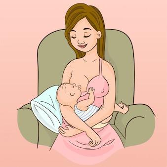 Moeder die zijn kind borstvoeding geeft