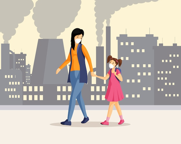 Moeder, dochter in vervuilde stadsillustratie. vrouw en meisje hand in hand en wandelen in industriële district stripfiguren, inademen van giftig gasafval. mensen dragen beademingsapparatuur