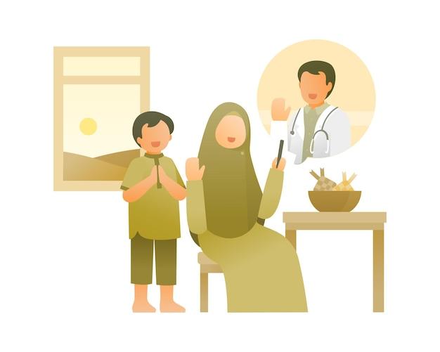 Moeder doet videogesprek met vader die als arts in het ziekenhuis werkt illustratie