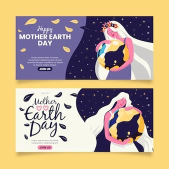 Moeder dragende aarde als haar kindbanner