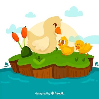 Moeder eend en kuikens plat ontwerp