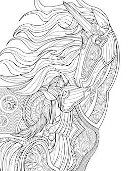 Moeder eenhoorn geeft haar baby een kus kleurloze lijntekening ouder mythisch gehoornd paard