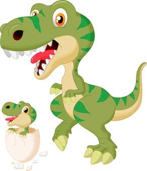 Moeder en baby dinosaurus broedeieren. vectorillustratie