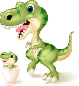 Moeder en baby dinosaurus broedeieren