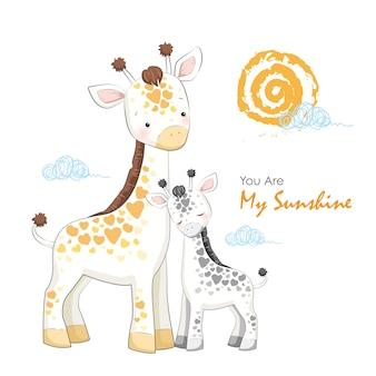 Moeder en baby giraffe