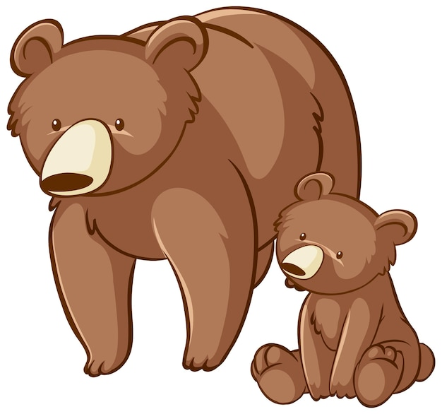 Moeder en baby grizzly beer cartoon op witte achtergrond
